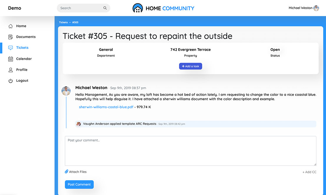 Home Community ticket view screen